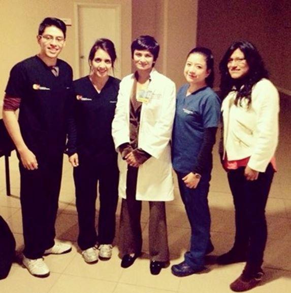 Our Ecuadorian student team along with Dr. Jayaraman (center). Left to Right: Jaime Armijos, Margarita Lituma, Dr Jayaraman, Paola Carrasco, and Jennifer Caguana.